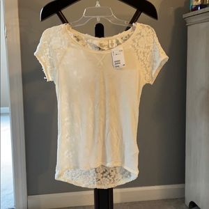 NWT H&M off white lace back t-shirt, xs